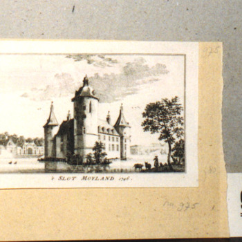 "Gravure ""'t Slot Moyland 1746"" op papier"