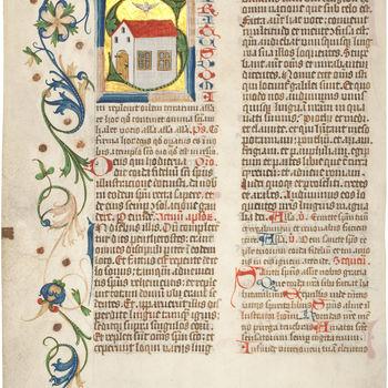"""Boekfragment  """"Blad uit een Missaal"""" handschrift op perkament, begin 1500, Duitsland"""