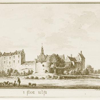 """Gravure """" 't Slot Ulft"""" op papier door Hendrik Spilman, ca.1750"""