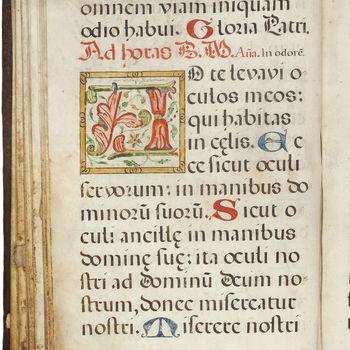 """Gebedenboek """"Mariagetijden"""" handschrift op perkament, circa 1510, Zwitserland?"""