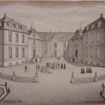 """Tekening """"Kasteel Boxmeer"""" op papier door A. Wigboldus"""