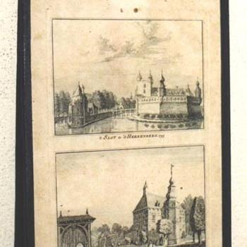 """Gravure """" 't Slot te 's-Heerenberg. 1743  't Huis Oploo"""" op papier naar Jan de Beijer, 1743"""