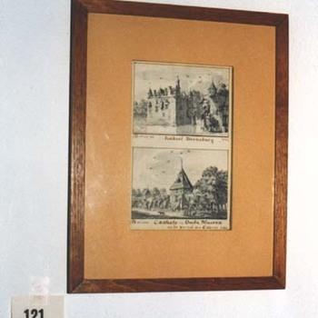 """Gravure """"Kasteel Doornenburg"""" op papier na een oorspronkelijke tekening door Jan de Beijer, 1712"""
