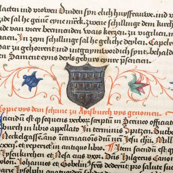 """Getijdenboek """"Memoriaal met kalender van de Maria Lys kerk te Keulen"""" handschrift op perkament, circa 1531, Keulen"""