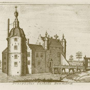 """Boekillustratie """"Prospectus Castelli Boxmerae"""" papier, 1730"""
