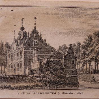 """Boekillustratie """" 't Huis Wolderburg"""" op papier gedrukt door Hendrik Spilman naar een tekening van Jan de Beijer, 1743"""