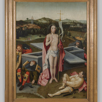"""Paneelschildering """"De opstanding van Jezus"""" op eikenhout, navolger van Jheronimus Bosch, tweede helft 16e eeuw"""