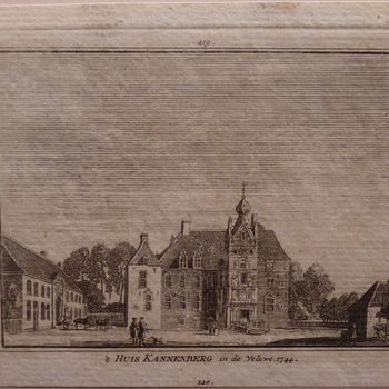 """Prent """"'t Huis Cannenberg"""" papier gedrukt, naar een tekening van Jan de Beijer, door Paulus van Liender, 1744"""