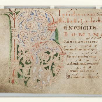 """Boekfragment """"Blad uit een Missaal met een initiaal B"""" handschrift op perkament, circa 1200, Engeland?"""