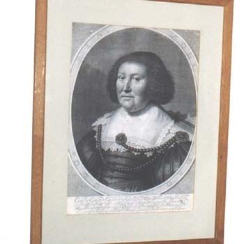 """Portret """"Catharina van Cuylenburg"""" op papier, gravure door W.J. Delff naar M. van Mierenveldt, 1634"""