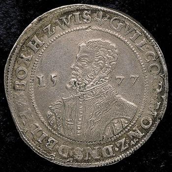 """Taler """"Halve portretdaalder van Willem IV"""" zilver, 1577"""