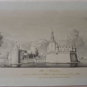 """Gravure """"Kasteel te 's-Heerenberg"""" op papier naar Cornelis Pronk door Paulus van Liender, 1731"""