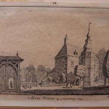 """Boekillustratie """" 't Huis Oploo"""" op papier gedrukt door Hendrik Spilmann naar een tekening van Jan de Beijer, 1743"""