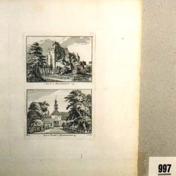 """Gravure """"'t Slot te Bronkhorst.1743  Slot Poort te Bronkhorst.1743"""" op papier"""