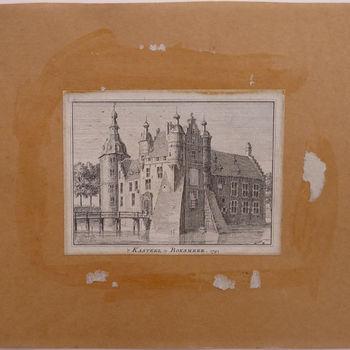 """Boekillustratie """"'t Kasteel te Boxmeer"""" op papier gedrukt  naar een tekening van Jan de Beijer, 1741"""