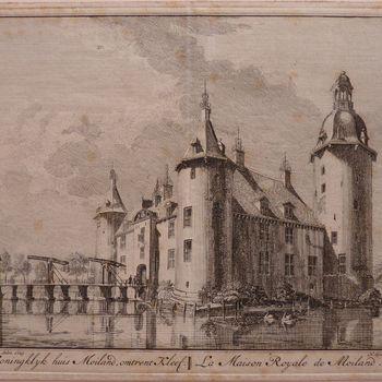 """Boekillustratie """"Het Koninklijk huis Moiland"""" op papier gedrukt, naar een tekening van Jan de Beijer, 1746"""