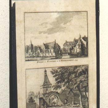 """Gravure """"Kerk en kasteel te 's-Heerenberg.  Zeddamsche Poort te 's-Heerenberg"""" op papier naar Jan de Beijer, 1745"""