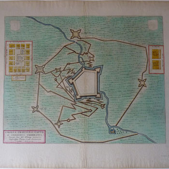 """Topografische prent """"Grolla Obsessa et Capta"""" op papier"""
