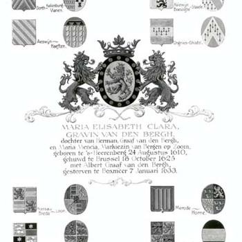 """Kwartierstaat  """"Maria Elisabeth Clara van den Bergh"""" op papier door H. van Kuilenberg, 1955, Silvolde"""
