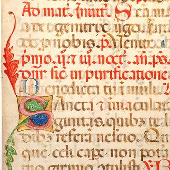 """Boekfragment  """"Blad uit een missaal"""" handschrift op perkament"""