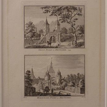 """Gravure """"De Gruitpoort en de Homburgerpoort te Deutichem"""" papier gedrukt naar een tekening van Jan de Beijer, 1731"""