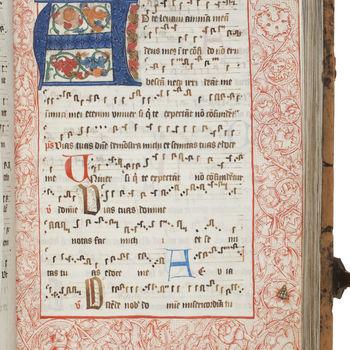 """Getijdenboek """"Graduale van het Clara-convent te Amsterdam"""" handschrift op perkament door Ian Lubertzoon, 1496, Soest"""