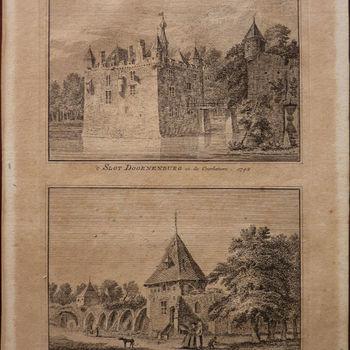 """Gravure """"Het Kasteel te Doornenburg in de Opper- Betuwe"""" op papier naar een gravure  Hendrik Spilmann naar een tekening van Abraham de Haan, 1732"""
