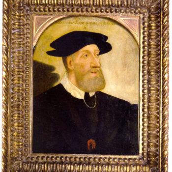 """Portret """"Keizer Karel V"""" op hout door Hans Abel, 1547, Duitsland"""