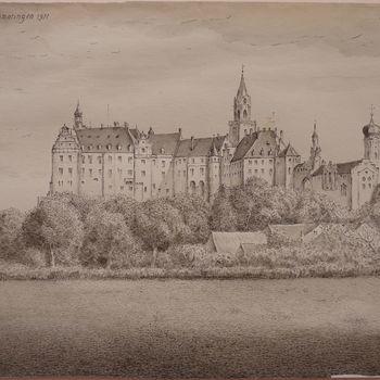 """Tekening """"Kasteel Sigmaringen"""" op papier door  A. Wigboldus"""