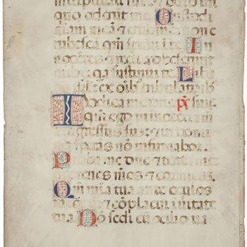 """Boekfragment """"Zestien boekfragmenten in een omslag"""" handschrift op perkament, circa 1400, Italië"""