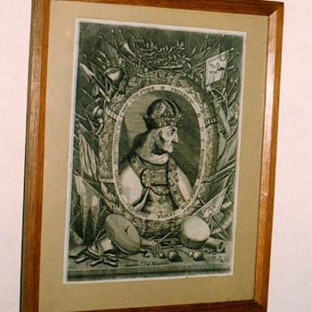 """Portret """"Frederik IV"""" op papier"""