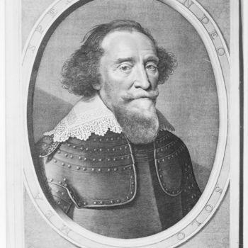 """Portret  """"Hendrik van den Bergh"""" op papier naar een portret van M. van Mierevelt, door W.J. Dellf, 1634"""