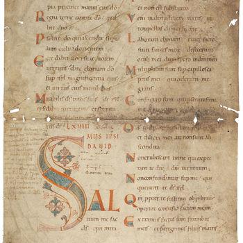"""Boekfragment """"Blad uit een Missaal"""" handschrift op perkament, kopie uit circa 1100 na een 9e eeuws origineel, Trièr?"""