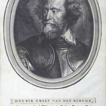 """Portret """"Hendrik van den Bergh"""" op papier naar Antonie van Dijck, circa 1650"""