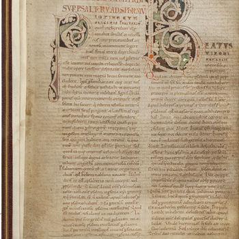 """Gebedenboek """"Breviarium sancti Hieronymus presbiteri super psalterium ad Sophronium"""" handschrift op perkament, circa 1130, Bourgondisch"""