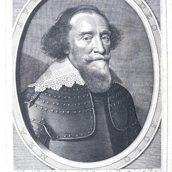 """Portret """"Hendrik van den Bergh"""" op papier naar een gravure van W.J. Dellf, 1634"""