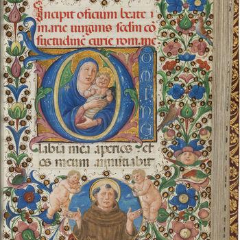 """Getijdenboek """"Horarium"""" handschrift op perkament, door Amphiss, circa 1450, Florence"""