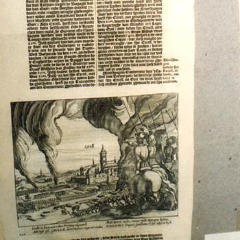"""Boekillustratie """"Inname van Groenloo"""" op papier, 1618"""