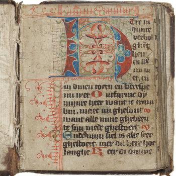 """Getijdenboek """"Horarium in de vertaling van Geert Groote"""" handschrift op perkament, 1465"""