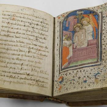 """Getijdenboek """"Getijdenboek in het Frans en Latijn"""" handschrift op perkament, kern omstreeks en bijgevoegde stukken omstreeks 1430 - 1475, Frankrijk"""