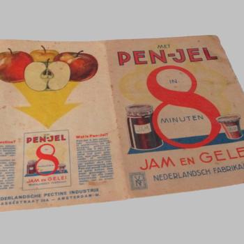 Folder met een recept voor jam of gelei met PEN-JEL, uit 1930