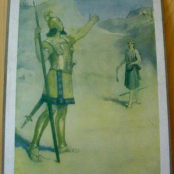 Schoolplaat 'David et Goliath' papier op karton, Frank Adams, uitgever Thomas Nelson and Sons circa 1900-1910