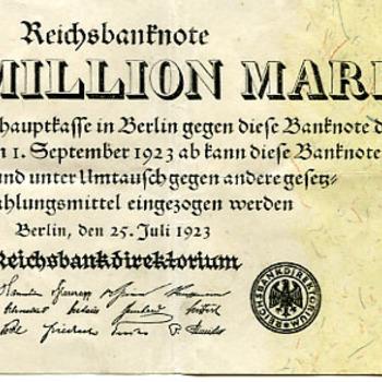 Bankbiljet van papier 25 juli 1923 Berlijn Duitsland