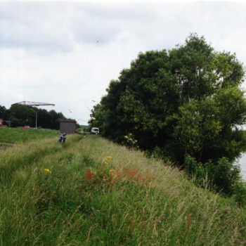 Kleurenfoto van een riviergezicht bij het dorp Tolkamer in 1995.