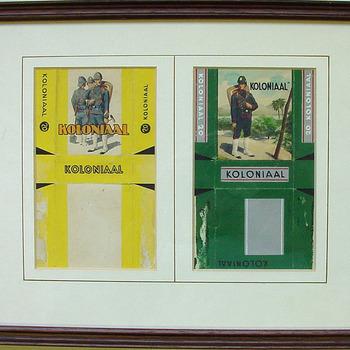 Twee ontwerpen van sigarettenpakjes van het merk Koloniaal ca. 1900-1950