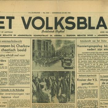 Krant 'Het Volksblad' van papier verschenen in Arnhem 28 mei 1942