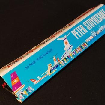 Langwerpig luciferskarton als reclamemateriaal van Peter Stuyvesant ca. 1990-2000