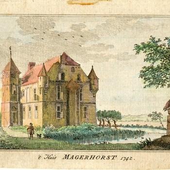 Gravure op papier voorstellende 't Huis Magerhorst in Duiven in 1742