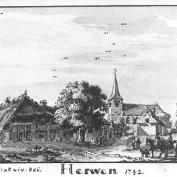 Foto op papier van een tekening van Herwen voorstellende gezicht op een dorp door Jan de Beijer uit 1742