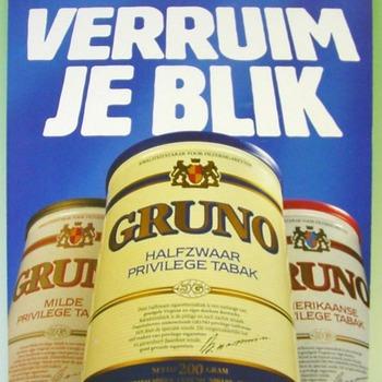 Reclamebord van karton voor het merk Gruno tabak ca. 1990-2005